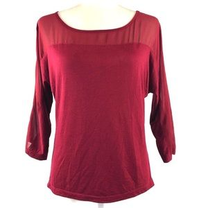 The Limited Burgundy Chiffon Inset Button Back Top